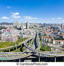 kunming, ciudad, hermoso, paso superior