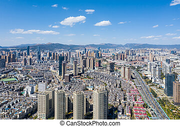 kunming, escena, vista aérea, ciudad