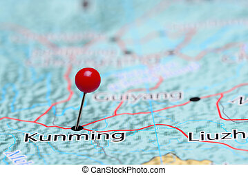 Kunming pinned on a map of Asia - Photo of pinned Kunming on...