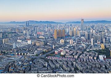 kunming, salida del sol, escena, vista aérea, ciudad