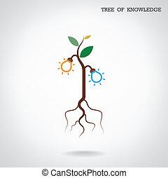 kunskap, affär, skylt., träd, utbildning, concept.