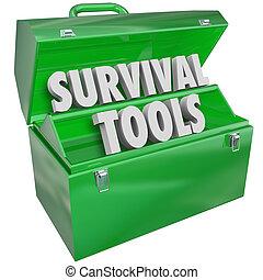 kunskap, expertis, överlevande, hur, överleva, toolbox, ...