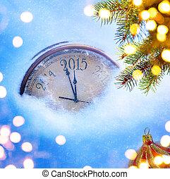 kunst, 2015, kerstmis, en, oudjaarsdag