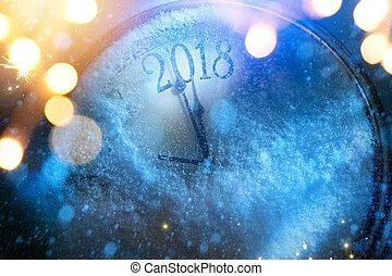 kunst, 2018, vrolijke , oudjaarsdag, achtergrond