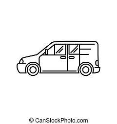 kunst, -, abbildung, vektor, auto, minivan, ikone, linie, transport