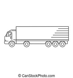 kunst, -, abbildung, vektor, ikone, lastwagen, linie, transport, waggon