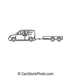kunst, -, abbildung, vektor, minivan, transport, auto, ikone, linie, anhänger