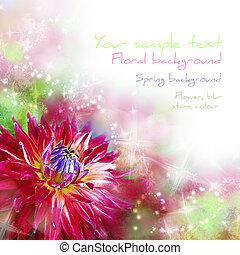 kunst, abstract, achtergrond, met, lente, floral, beweegreden