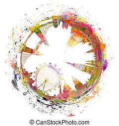 kunst, abstract, -, skyline, londen, watercolors