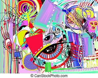 kunst, abstract, tijdgenoot, helder, achtergrond, digitale , schilderij