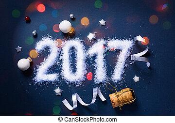 kunst, achtergrond, jaren, eve;, vrolijk, nieuw, feestje, 2017, kerstmis, vrolijke
