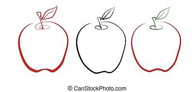 kunst, appel kleur, variaties, drie, lijn