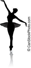 kunst, ballett, silhouette