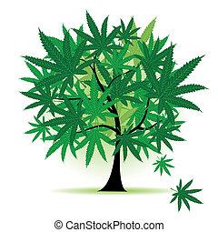kunst, baum, fantasie, cannabis blatt