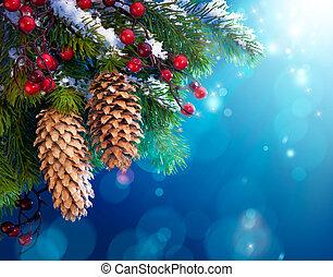 kunst, besneeuwd, kerstboom