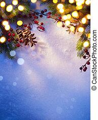 kunst, besneeuwd, kerstmis, achtergrond;