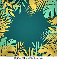 kunst, blätter, -, tropische , papier, handfläche