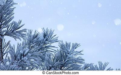 kunst, blauwe , kerstboom