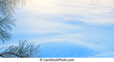 kunst, blauwe , kerstmis, tree;, besneeuwd, winter, kerstmis, landscape