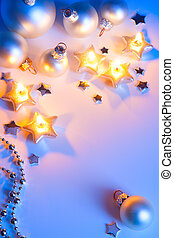 kunst, blauwe , kerstversiering, magisch, lichten, achtergrond