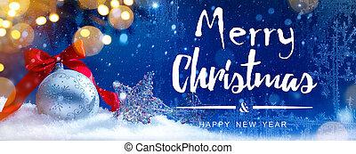 kunst, blauwe sneeuw, kerstmis, feestdagen, lichten, achtergrond