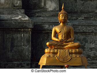 kunst, boeddhisme, azie, boeddha, standbeeld, gebeeldhouwd ...