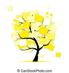 kunst, boompje, gele, ontwerp, stickers, jouw