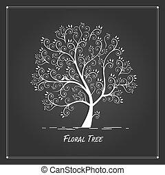kunst, boompje, ontwerp, achtergrond, black , jouw