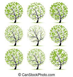 kunst, boompje, verzameling, voor, jouw, ontwerp