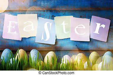 kunst, bunte, ostern, eggs., hintergrund, mit, ostereier, auf, grünes gras