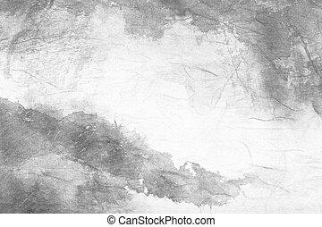 kunst, chinees, abstract, grijze , papier, schilderij