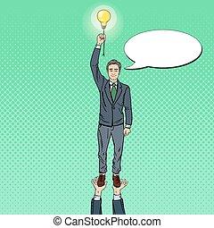 kunst, concept., arbejde, illustration, vektor, affyre, hold, forretningsmand, lightbulb.