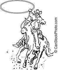 kunst, cowboy, rodeo, westlich, linie, reiter