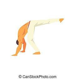 kunst, danser, karakter, nationale, illustratie, krijgshaftig, capoeira, vector, braziliaans, mannelijke
