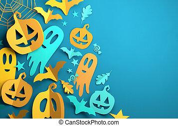 kunst, dekorationen, festlicher, -, halloween, papier, hintergrund