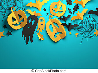 kunst, dekorationen, -, halloween, papier, hintergrund