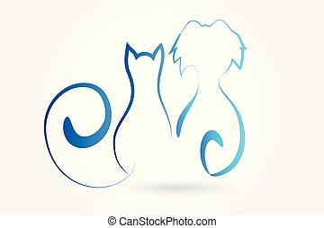 kunst, dog, kat, vector, logo, lijn