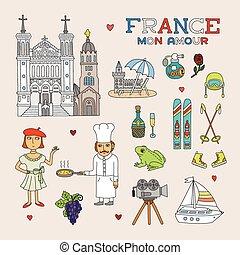 kunst, doodle, reizen, frankrijk, vector, toerisme