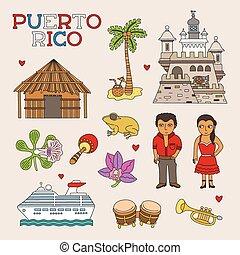 kunst, doodle, reizen, rico, vector, puerto, toerisme