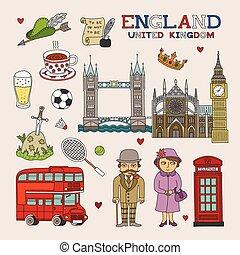 kunst, doodle, reizen, vector, engeland, toerisme