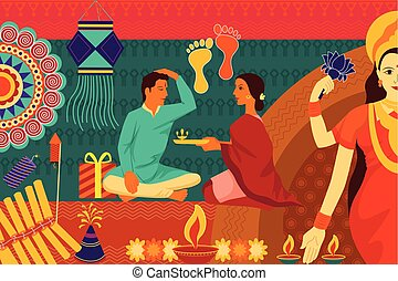 kunst, familie, festival, indien, diwali, bhai, fejr, indisk, baggrund, dooj, during, kitsch, glade