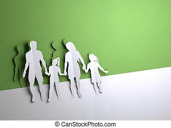 kunst, familie, -, junger, papier, glücklich