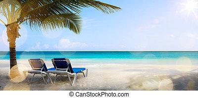 kunst, ferie, på, den, hav, baggrund