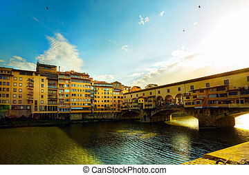 kunst, florence, oude stad, street;, italy.