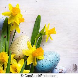 kunst, frohes ostern, hintergrund, mit, ostereier, und, gelber , frühjahrsblumen