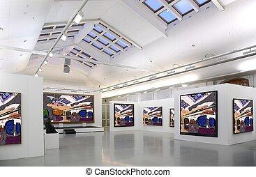 kunst galleri, 2., al, afbildningerne, retfærdig, filtred,...