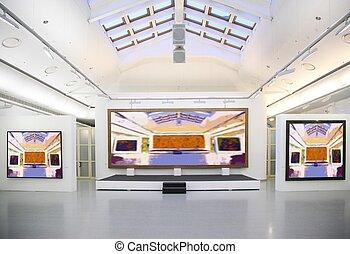 kunst, gallery., alles, beelden op muur, zelfs, gefiltreerd, geheel, dit, foto