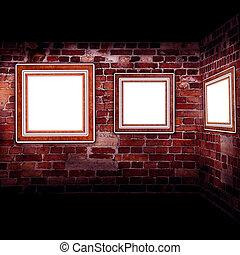kunst, gallery., leder, brickwall., lijstjes, oud