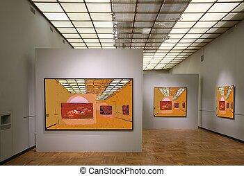 kunst, gallery7., alles, beelden op muur, zelfs, gefiltreerd, geheel, dit, foto