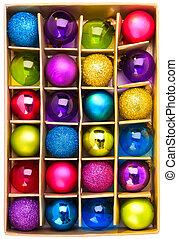 kunst, geschenkschachtel, mit, hell, gefärbt, weihnachten, kugeln